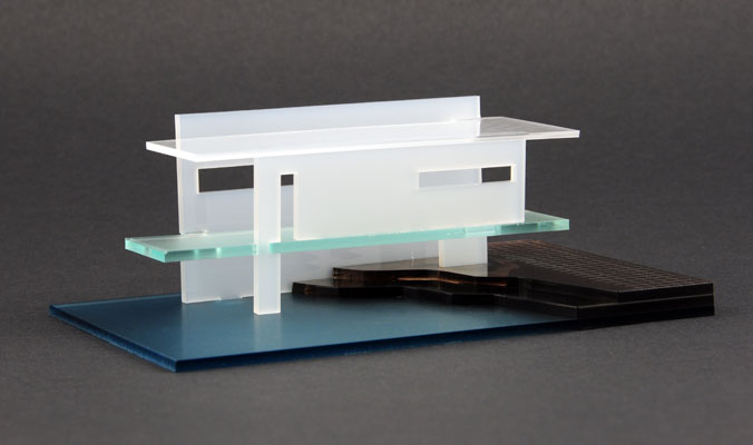 An architectural model created by cutting and engraving multiple types of acrylic