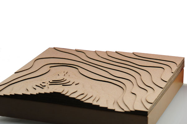 Laser cut cardboard topographic model