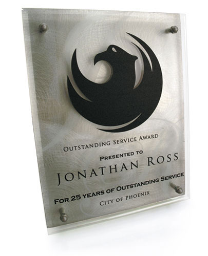 Laser engraved glass award with laser cut vinyl applied