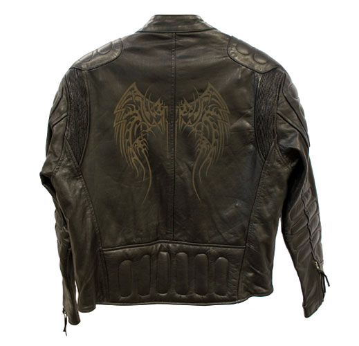 Laser engraved leather jacket