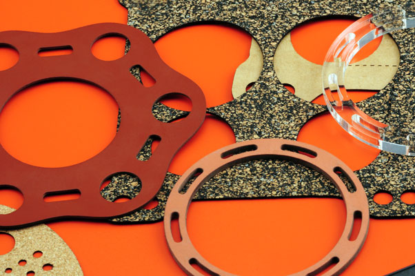 Laser cut rubber, silicone and cork gaskets