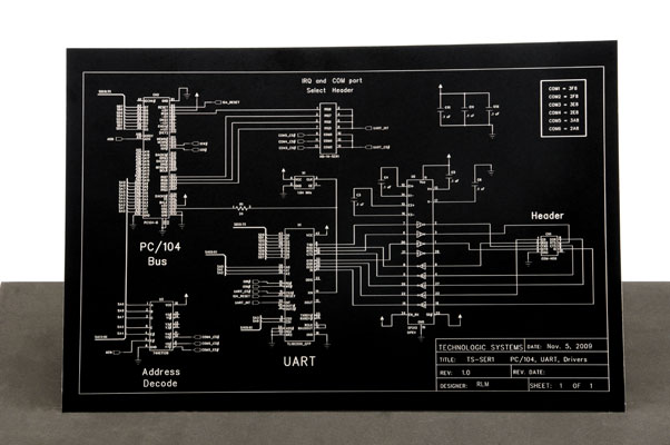 Laser marked anodized aluminum electrical diagram