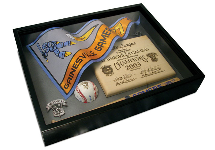 Shadow box with laser engraved wood plaque, laser cut twill pennant, laser engraved baseball and laser cut matboard