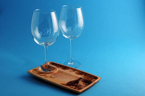 Laser engraved wine glasses and engraved wood cheese tray