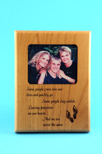 Laser engraved wood plaque with photo applied