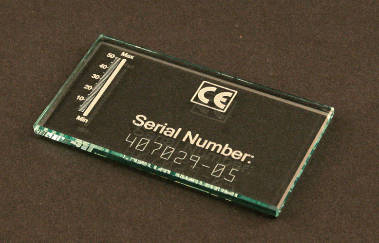 Laser marked glass serial tag