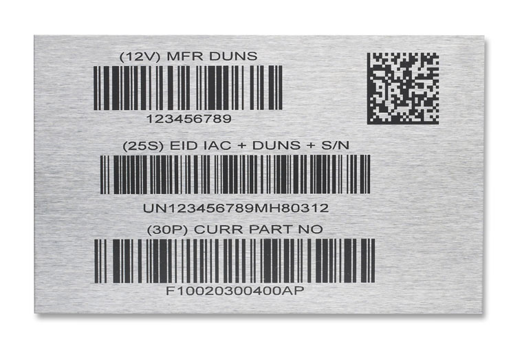 Laser marked barcode examples on stainless steel (using marking compound)