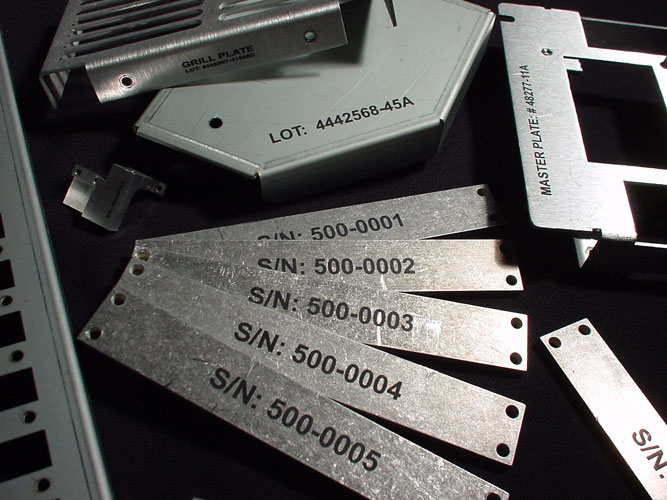 Laser marked aluminum ID tags (with marking compound)
