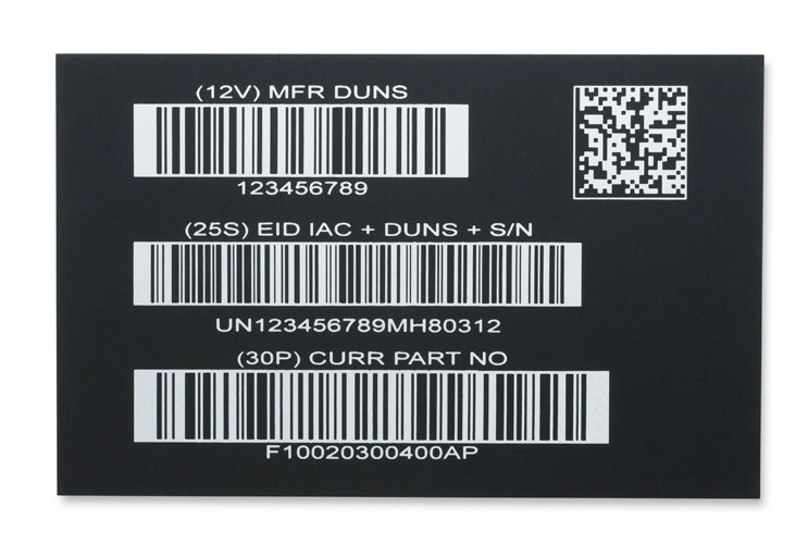 Laser marked barcode examples on anodized aluminum