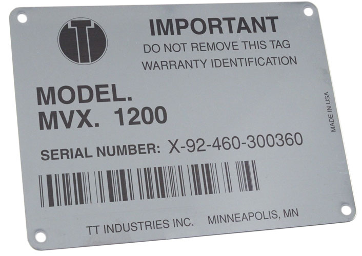 Laser marked metal asset tag (using marking compound)