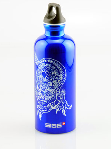 Laser marked anodized aluminum water bottle