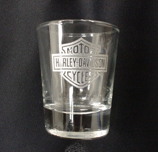 Laser engraved shot glass