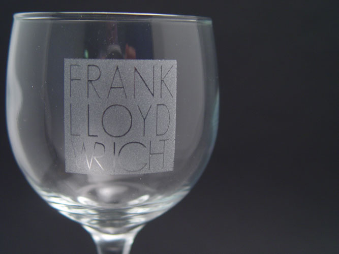 Laser engraved wine glass