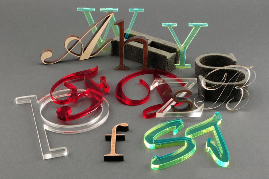 Laser cut acrylic, wood and foam dimensional letters