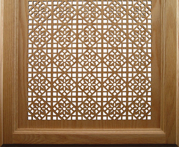 Laser cut wood cabinet door