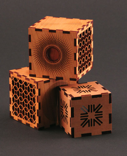 Laser cut wood puzzle boxes