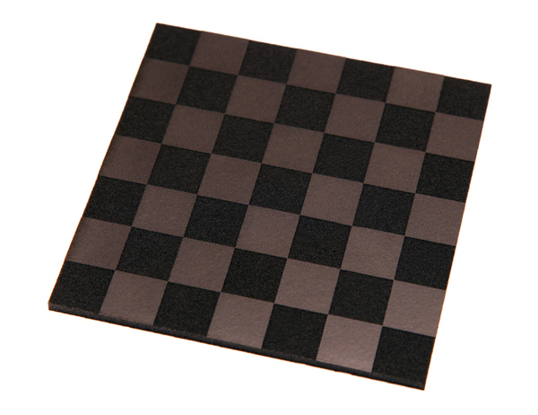 A checkerboard pattern engraved onto a Poron® sheet